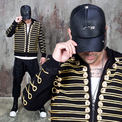 gold laurel embroidered black jacket