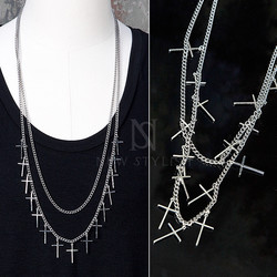 Multiple cross charm double chain necklace