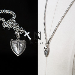 Cross shield charm metal chain necklace
