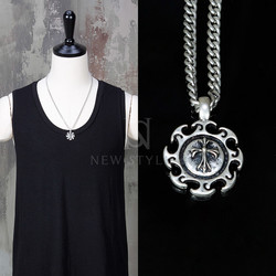Sun sew cross charm metal chain necklace