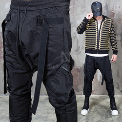 coated black baggy jogger pants