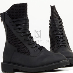 Mesh contrast leather high-top zipper boots
