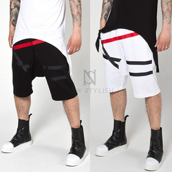 tape contrast cotton shorts