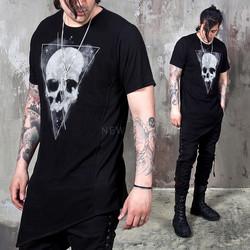 Asymmetric mesh skull black t shirts