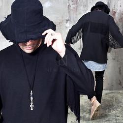 Side opening fringe black cotton shirts