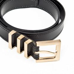 Triple gold metal buckle leather belt