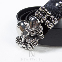 Metal silver skull buckle genuine leather belt