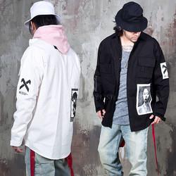 patchwork cargo pocket shirt jacket