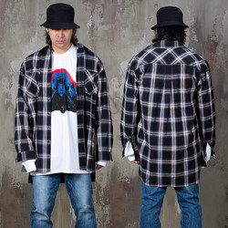 Front lettering printed stripe shirts