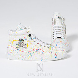 Skull  white splash lace-up high-top sneakers