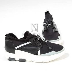 Contrast banding upper lace-up sneakers