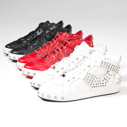 Contrast studded mid-top lace-up sneakers