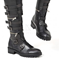 Three-stage separable belted long biker leather boots