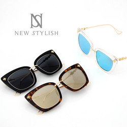 Acrylic rimmed gold frame cat eye sunglasses