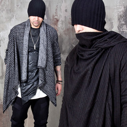 Asymmetric stripe draping shawl cardigan