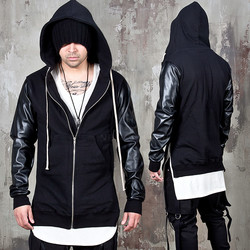 Side opening leather sleeves zip-up hoodie