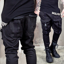 Zippered 4 cargo pockets black banding pants