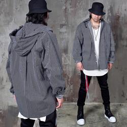 Hooded stripe unbalance shirts