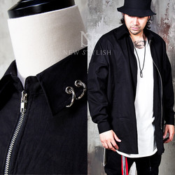 Pierced collar side opening zip-up shirts