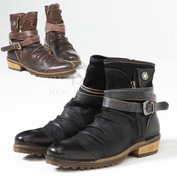 Coiled belt aged look wrinkle cowhide leather boots