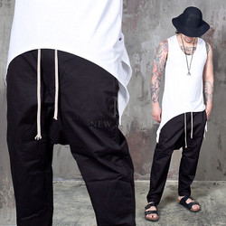 Deep crotch black baggy drawcord banding pants