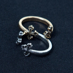 Adjustable Mister Double Cross Pinky Ring​