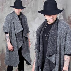 Draping shawl wool cardigan