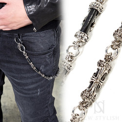Antique metal cross wallet chain