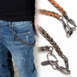 Metal leaf braided leather wallet chain