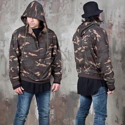 Half zip-up camouflage hoodie