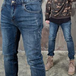 Distressed & wrinkled deep blue washed jeans