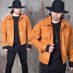 Snap button pocket wide fit suede jacket
