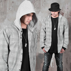 Hooded checkered shirts