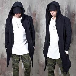 Asymmetric distressed black hood cardigan