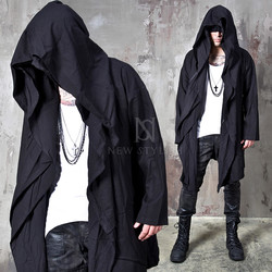 Avant-garde double big hooded black coat