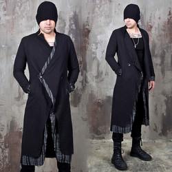 Contrast layered asymmetric closure slim long coat