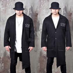 Unbalanced cut herringbone black long coat