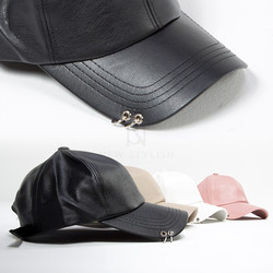 Double ring pierced leather ball cap