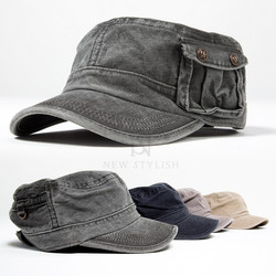Button pocket military short brim cap
