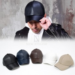 Plain leather ball cap