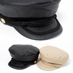Rope strap leather marine cap