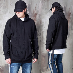 Webbing strap accent distressed hoodie
