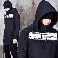 Brush touch printed round hem hoodie
