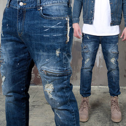 Zipper accent distressed slim straight jeans