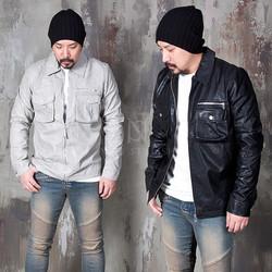 Flap pocket leather bomber jacket