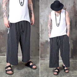Striped wide loose bending pants