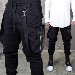 Webbing suspender attached bending jogger pants