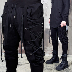 Eyelet rope black bending pants