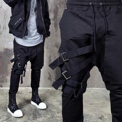 4 webbing belt black bending pants