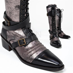 Distressed rose gold leather vampire long boots